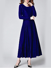 Vintage Solid Velvet Round Neck Long Dress