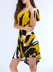Round Neck Abstract Print Color Block High-Low Skater Dress