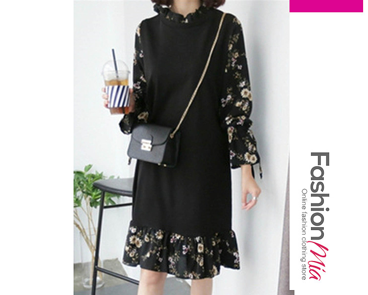 Band Collar  Fake Two-Piece  Printed Shift Dress C9507012D2E7