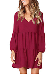 V-Neck  Plain Casual Shift Dress