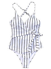 Deep V-Neck  Lightweight  High Stretch  Vertical Striped One Piece