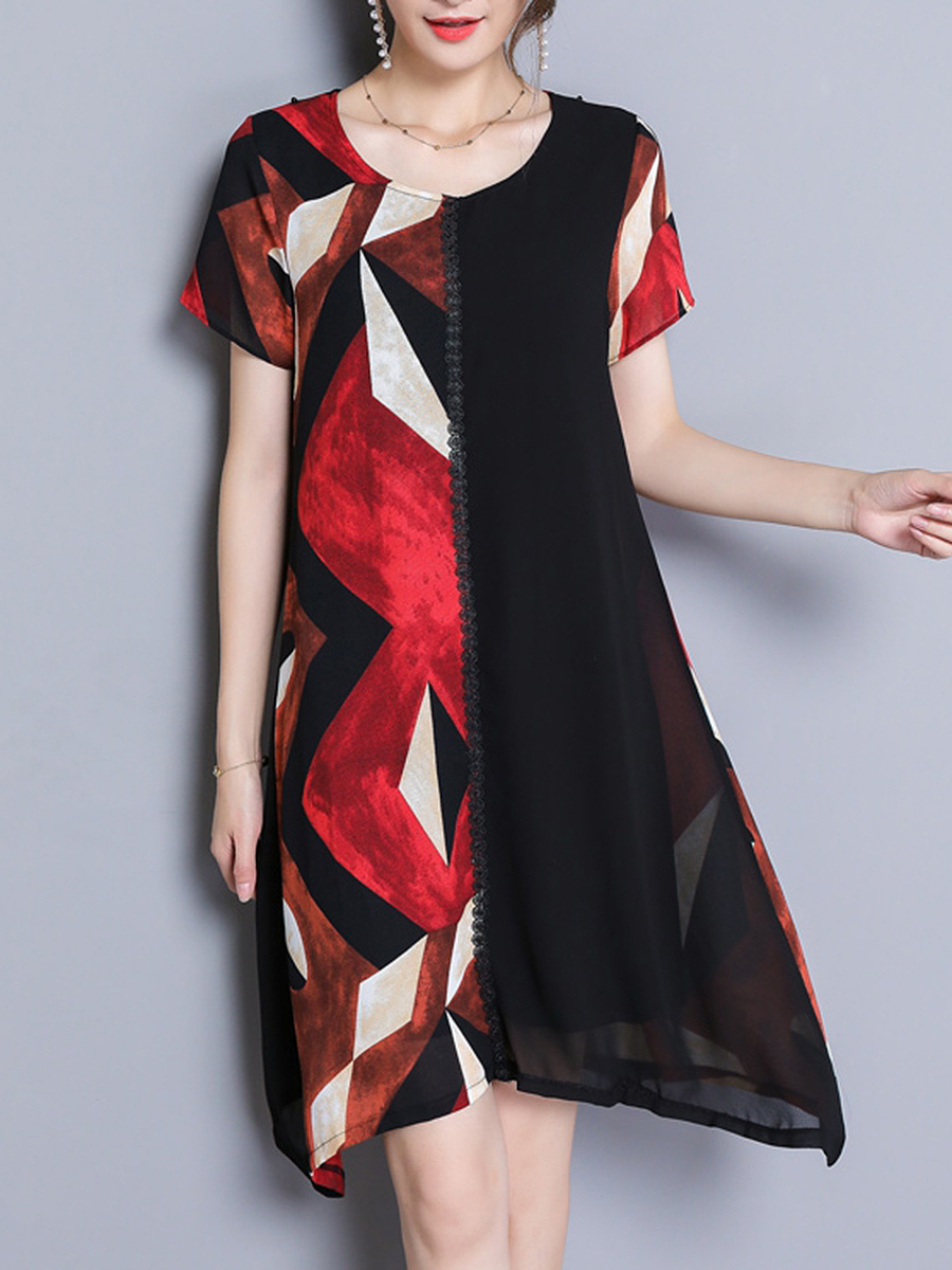 Asymmetric Hem Color Block Printed Chiffon Shift Dress