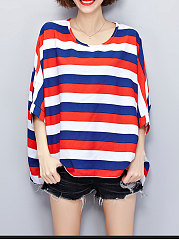 Round Neck  Asymmetric Hem  Striped  Batwing Sleeve Short Sleeve T-Shirts