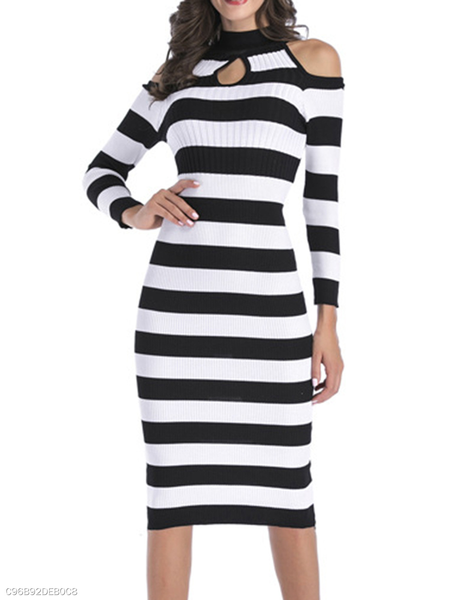 Band Collar  Striped  Blend Bodycon Dress