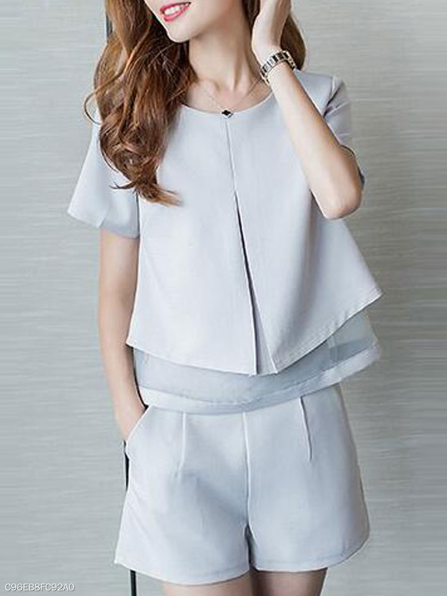 Summer  Chiffon Mesh  Women  Round Neck  Patchwork  Plain  Short Sleeve Blouses