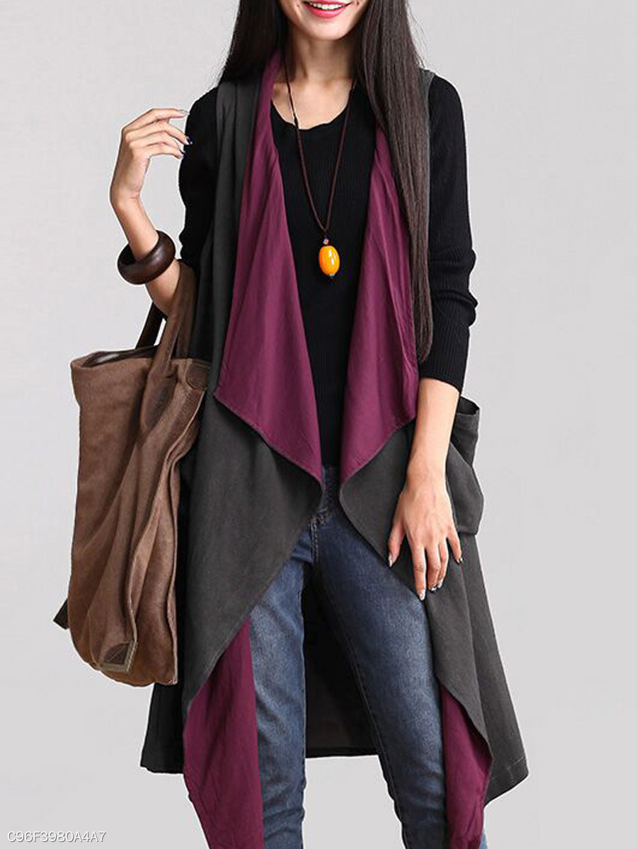 Asymmetric Hem  Color Block  Long Sleeve Cardigans