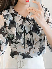 Summer  Polyester  Women  Tie Collar  Flounce  Floral Printed  Three-Quarter Sleeve Blouses