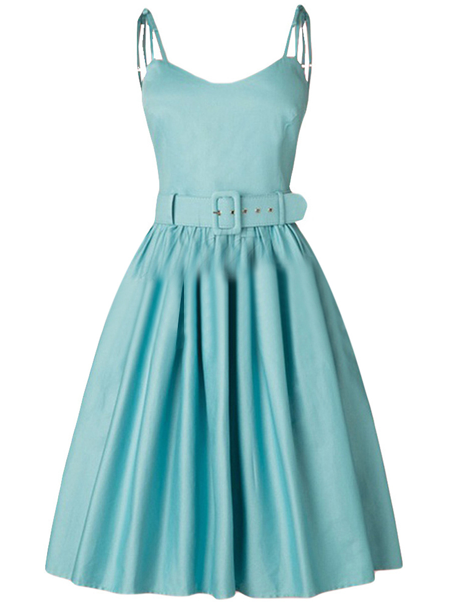 Spaghetti Strap Belt Plain Skater Dress