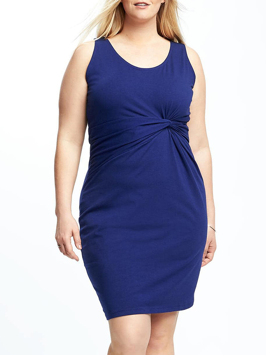 Round Neck  Plain Plus Size Bodycon Dresses