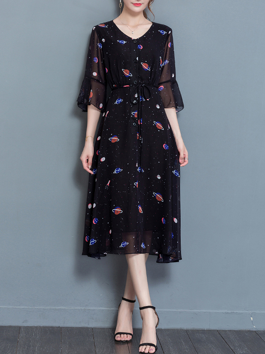 V-Neck Bell Sleeve Planet Printed Chiffon Maxi Dress