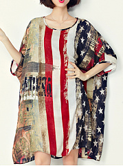 Oversized US Flag Printed Chiffon Shift Dress