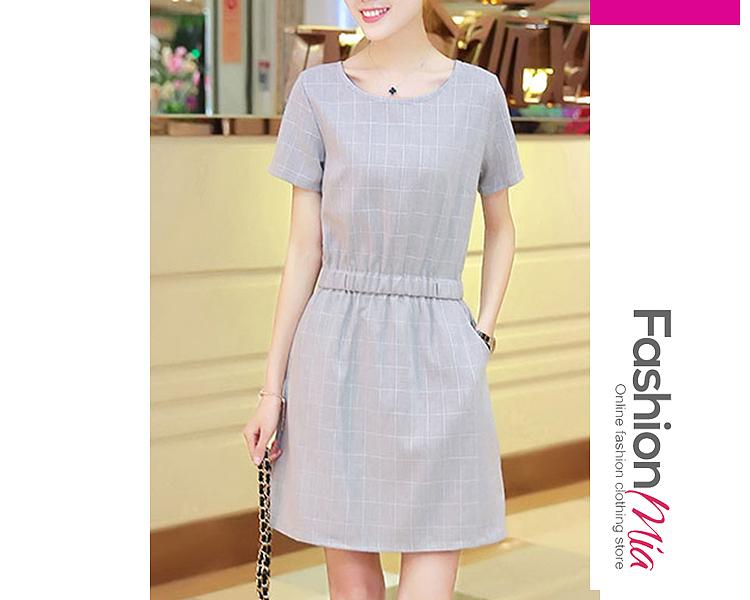 Round Neck  Elastic Waist  Brocade Plain Shift Dress C9A673C0D77F