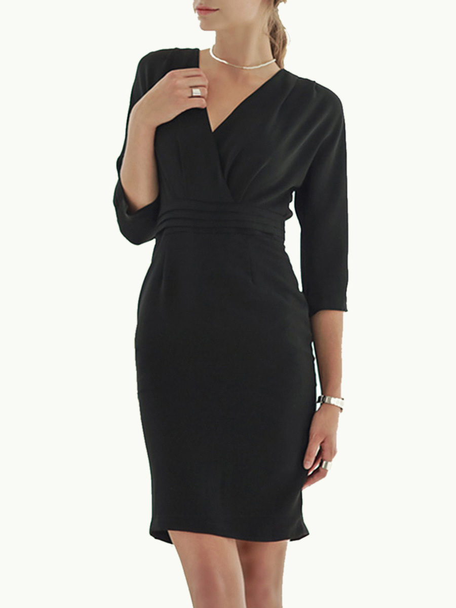 Black V-Neck Empire Bodycon Dress