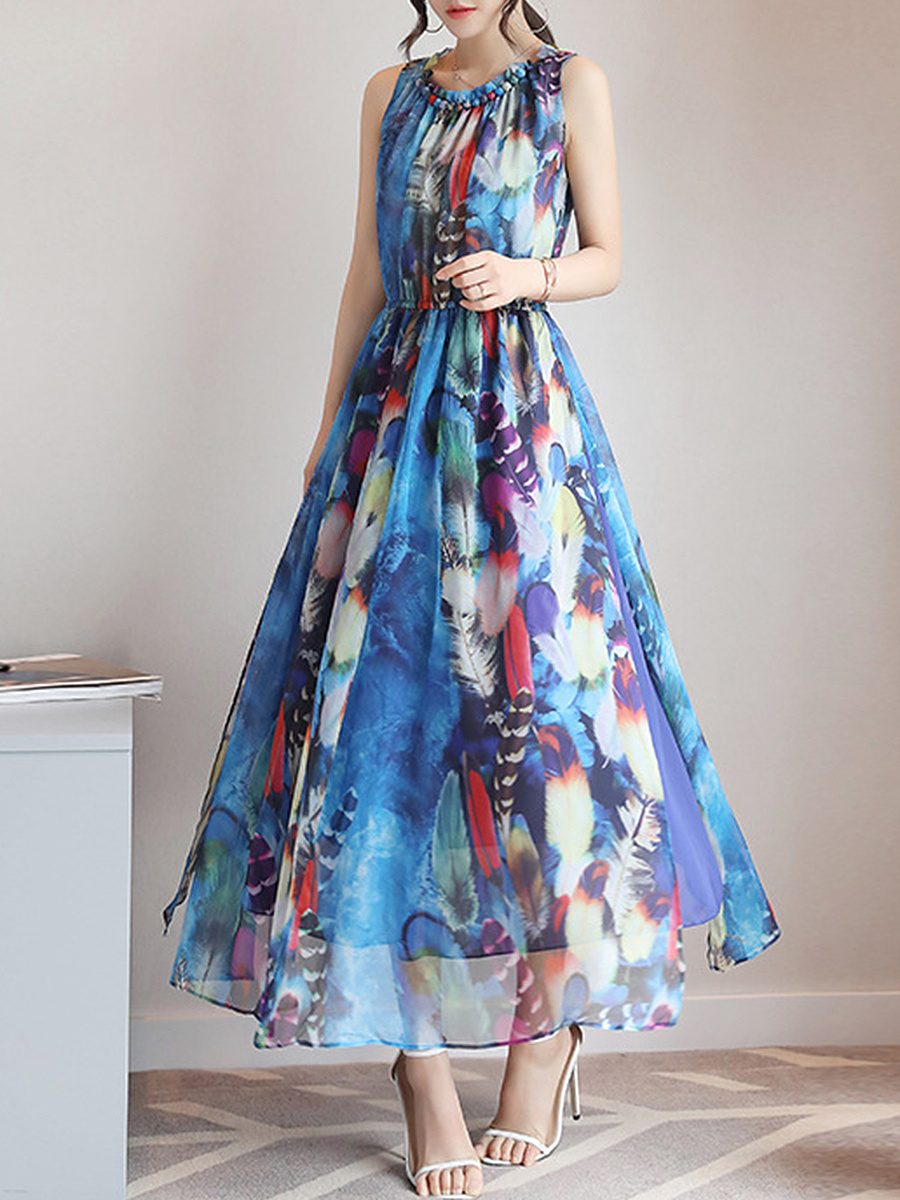 Round Neck  Elastic Waist  Printed Chiffon Maxi Dress