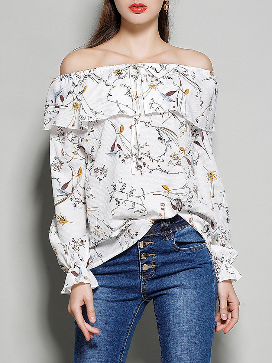 Off Shoulder Flounce Printed Long Sleeve T-Shirt