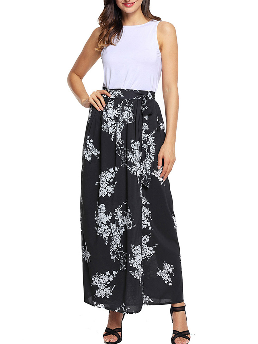 Printed Flared Maxi Skirt