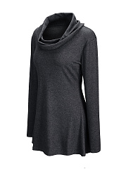 Longline Casual Cowl Neck Long Sleeve T-Shirts