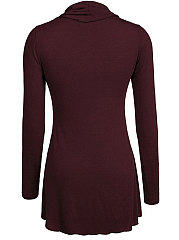 Autumn  Blend  Women  Cowl Neck Long Sleeve T-Shirts