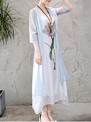 Round Neck  Asymmetric Hem  Color Block Printed Maxi Dress