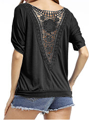 Summer  Cotton  Women  Boat Neck  Decorative Lace  Hollow Out Plain Short Sleeve T-Shirts