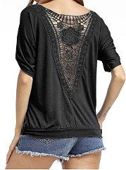Boat-Neck-Decorative-Lace-Hollow-Out-Plain-T-Shirts