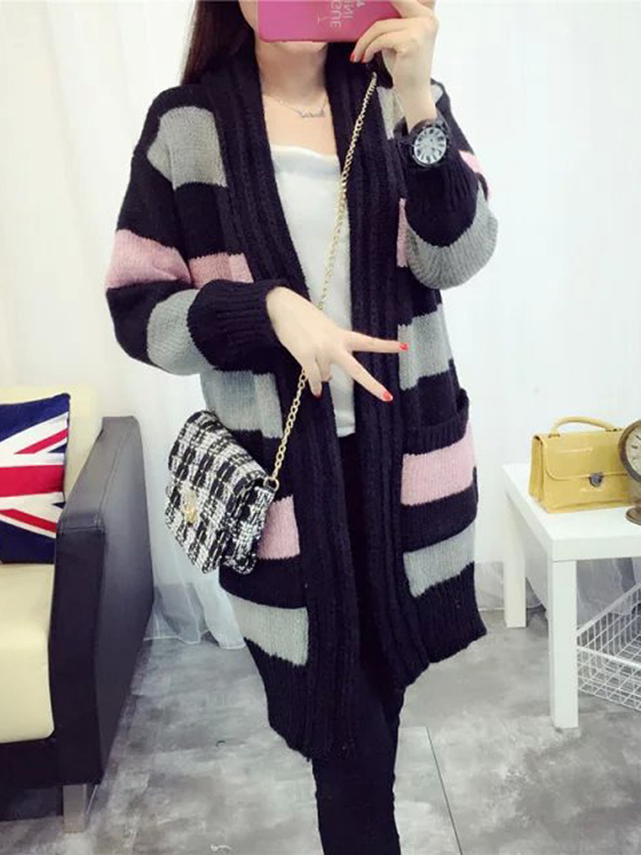 Collarless Color Block Striped Patch Pocket Cardigan