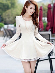 Round Neck Decorative Lace Plain Mini Skater Dress