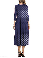 Round Neck  Polka Dot Maxi Dress