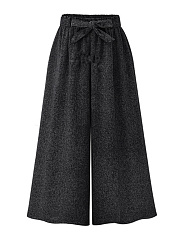 Casual-Elastic-Waist-Belt-Wide-Leg-Cropped-Pants