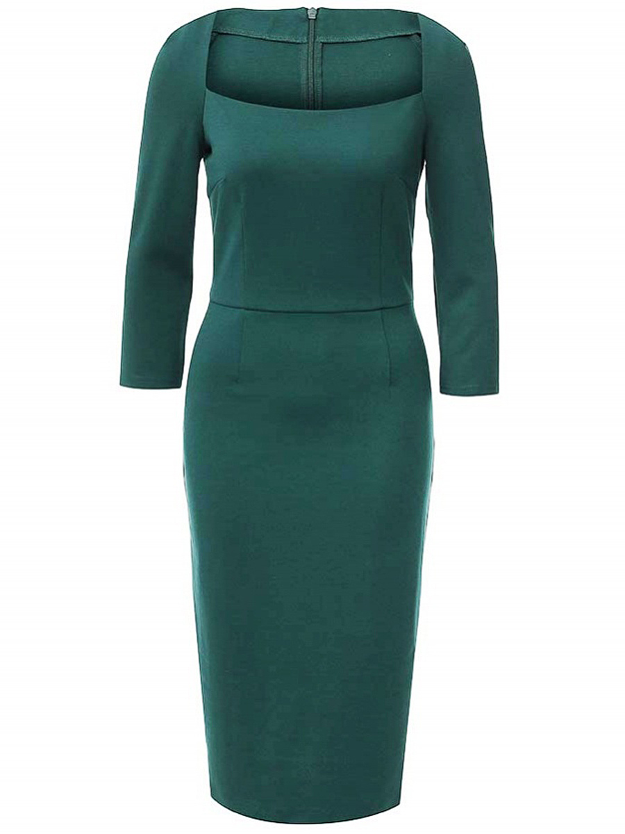 Square Neck Plain Slit Bodycon Dress