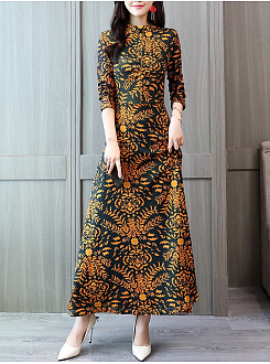 Crew Neck Daily Printed Maxi Dress