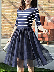 Round Neck  Patchwork  Striped Skater Dress