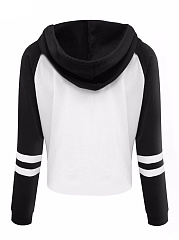 Color Block Letters Printed Raglan Sleeve Cropped Hoodie