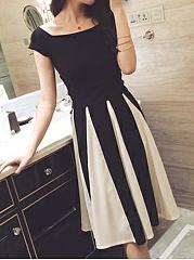 Square-Neck-Bowknot-Mid-Rise-A-Line-Dresses