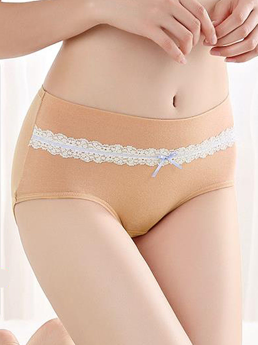 Pure Lace Bowknot Comfortable Seamfree Cotton Panties