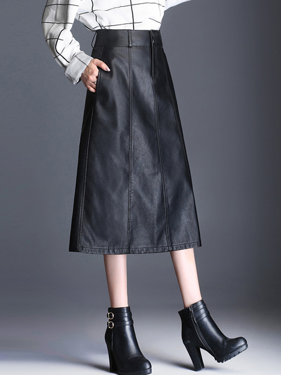 Lady Style Double Breasted  Plain  Flared Midi Pu Skirts