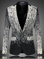 Notch Lapel Single Button Embroidery Men Blazer