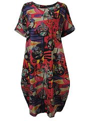 Round Neck  Abstract Print Plus Size Midi  Maxi Dress