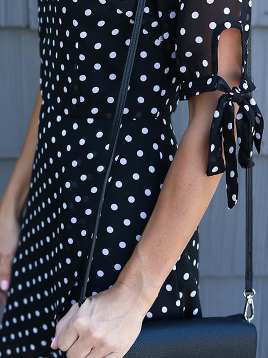 V-Neck Polka Dot High-Low Chiffon Skater Dress