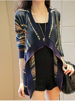 Collarless  Geometric Printed  Long Sleeve Cardigans