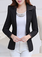 Notch Lapel  Flap Pocket Single Button Plain Blazer
