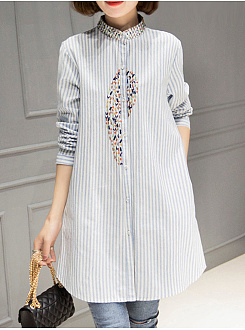 Band Collar  Loose Fitting  Embroidery Blouses