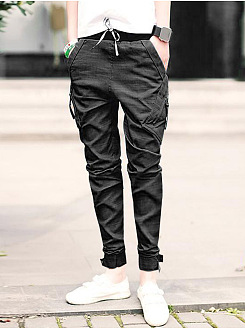 Designed Plain Pocket Zips Slim-Leg Mens Jeans