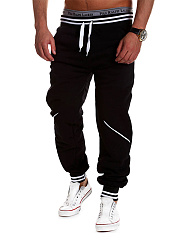Drawstring Striped Elastic Waist Men's Casual Jogger Pants