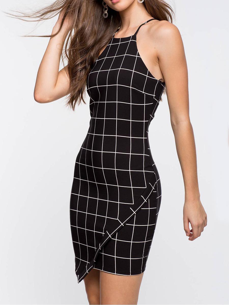 Spaghetti Strap  Plaid Bodycon Dress