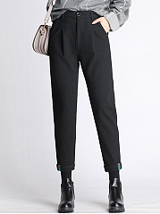 Plain-Pocket-Woolen-Slim-Leg-Casual-Pants