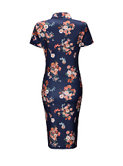 Band Collar Zips Floral Printed Bodycon Dress