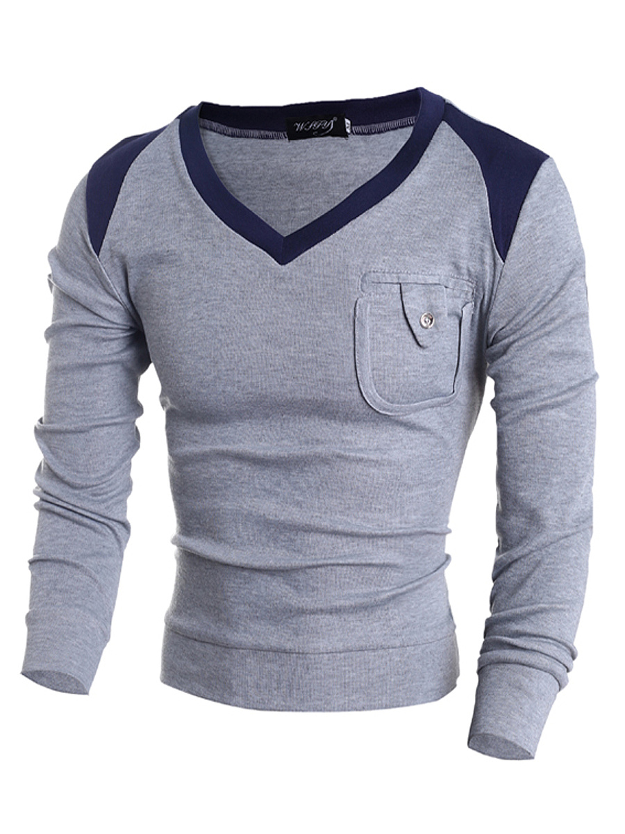 V-Neck  Patch Pocket  Color Block Men'S Sweater