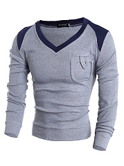 V-Neck  Patch Pocket  Color Block MenS Sweater