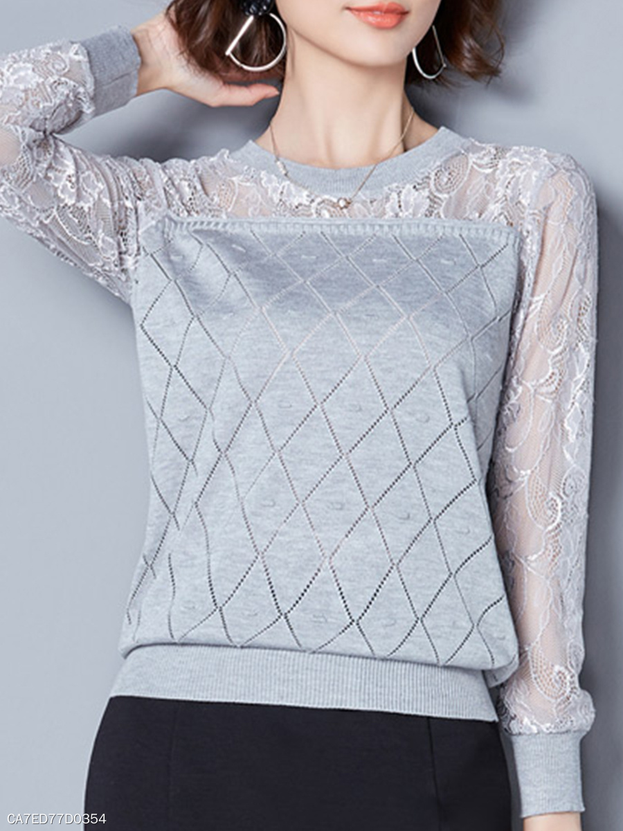 Round Neck  Patchwork  Lace Knit Pullover